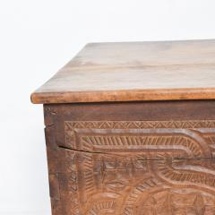 Artisan Hand Carved Blanket Chest in Solid Wood with Relief Detail 1920s - 2023758