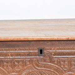 Artisan Hand Carved Blanket Chest in Solid Wood with Relief Detail 1920s - 2023759