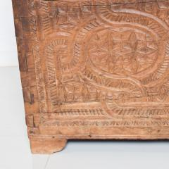 Artisan Hand Carved Blanket Chest in Solid Wood with Relief Detail 1920s - 2023760