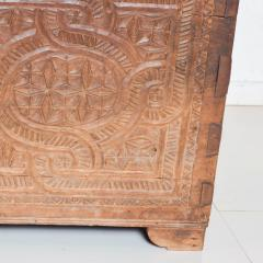 Artisan Hand Carved Blanket Chest in Solid Wood with Relief Detail 1920s - 2023761