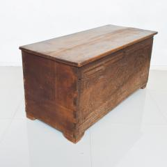 Artisan Hand Carved Blanket Chest in Solid Wood with Relief Detail 1920s - 2023764
