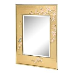 Artisan Reverse Painted Mirror in Gold Leaf with Magnolia Branches 1988 Signed  - 2135938