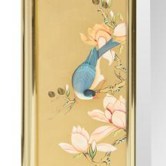 Artisan Reverse Painted Mirror in Gold Leaf with Magnolia Branches 1988 Signed  - 2135940