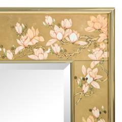 Artisan Reverse Painted Mirror in Gold Leaf with Magnolia Branches 1988 Signed  - 2135943