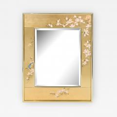 Artisan Reverse Painted Mirror in Gold Leaf with Magnolia Branches 1988 Signed  - 2139121