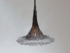 Artisanal Modern Bronze and Steel Hand Welded Pendant - 972345