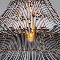 Artisanal Modern Bronze and Steel Hand Welded Pendant - 972346