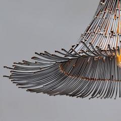 Artisanal Modern Bronze and Steel Hand Welded Pendant - 972347
