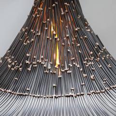 Artisanal Modern Bronze and Steel Hand Welded Pendant - 972348