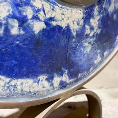 Artist made Menorah Arc Sculpture 7 Candle Cobalt Blue Sea Fused Glass Bronze - 2087044