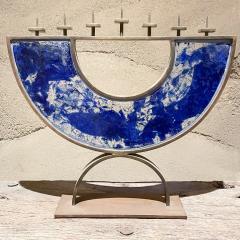 Artist made Menorah Arc Sculpture 7 Candle Cobalt Blue Sea Fused Glass Bronze - 2087047