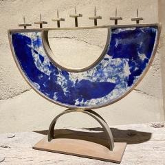 Artist made Menorah Arc Sculpture 7 Candle Cobalt Blue Sea Fused Glass Bronze - 2087049
