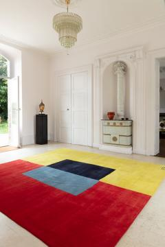 Artistic rug by contemporary artist Ellen Richman Red and Yellow - 1474283