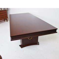 Arturo Pani 1950s Mahogany Brass Medallion Presidential Executive Dining Table Mexico City - 1903784
