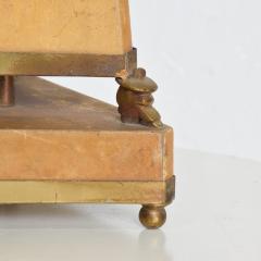 Arturo Pani Arturo Pani Elegant Mexican Cowboy Pyramid Table Lamp in Goatskin Bronze 1950s - 1988214