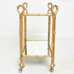 Arturo Pani Arturo Pani Gilded Faux Bamboo Service Bar Cart Mexican Modern Regency 1950s - 1606120