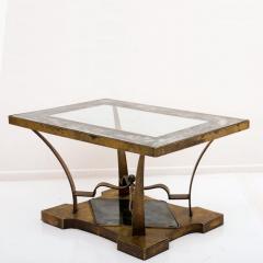 Arturo Pani Arturo Pani Side Table Eglomis Glass Bronze 1950s Elegant Flair - 2090088