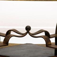 Arturo Pani Arturo Pani Side Table Eglomis Glass Bronze 1950s Elegant Flair - 2090091