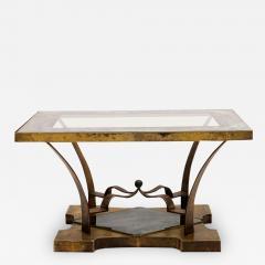 Arturo Pani Arturo Pani Side Table Eglomis Glass Bronze 1950s Elegant Flair - 2090351