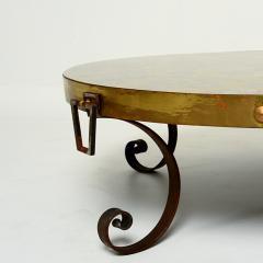 Arturo Pani Elegant Modern Vintage Round Brass Eglomise COCKTAIL Table Arturo Pani 1950s - 1515404