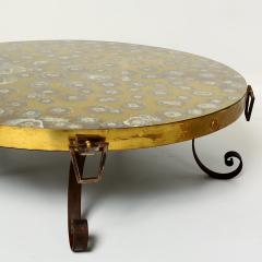 Arturo Pani Elegant Modern Vintage Round Brass Eglomise COCKTAIL Table Arturo Pani 1950s - 1515407
