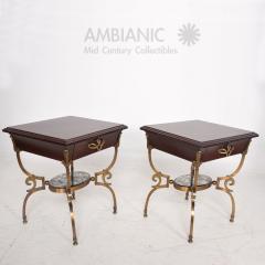 Arturo Pani Fabulous French Side Tables Eglomise Bronze Mahogany Nightstands Arturo Pani - 1542711