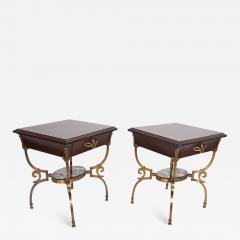 Arturo Pani Fabulous French Side Tables Eglomise Bronze Mahogany Nightstands Arturo Pani - 1543600