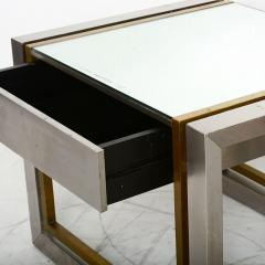 Arturo Pani Mexican Modern Stainless Brass Side Tables 1960s - 1371453