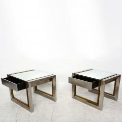 Arturo Pani Mexican Modern Stainless Brass Side Tables 1960s - 1371455