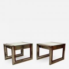 Arturo Pani Mexican Modern Stainless Brass Side Tables 1960s - 1373708