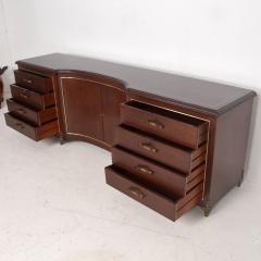 Arturo Pani Mexican Modernist Arturo Pani 1950s Mahogany and Bronze Curved Credenza Dresser - 1541519