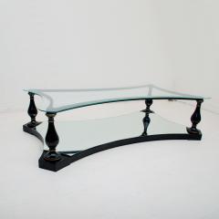 Arturo Pani Midcentury Neoclassical Black Iron Brass and Glass Coffee Table by Arturo Pani - 1507343