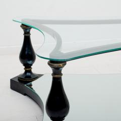 Arturo Pani Midcentury Neoclassical Black Iron Brass and Glass Coffee Table by Arturo Pani - 1507345