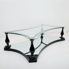 Arturo Pani Midcentury Neoclassical Black Iron Brass and Glass Coffee Table by Arturo Pani - 1507347
