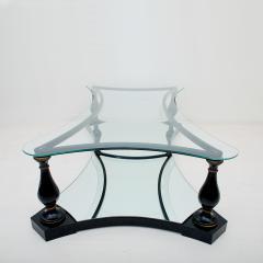Arturo Pani Midcentury Neoclassical Black Iron Brass and Glass Coffee Table by Arturo Pani - 1507348