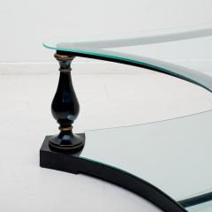 Arturo Pani Midcentury Neoclassical Black Iron Brass and Glass Coffee Table by Arturo Pani - 1507349