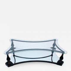 Arturo Pani Midcentury Neoclassical Black Iron Brass and Glass Coffee Table by Arturo Pani - 1509133