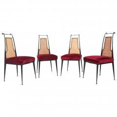Arturo Pani Neoclassical Ruby Red Velvet Dining Chairs Set of 4 Arturo Pani Mexico 1950s - 1600236