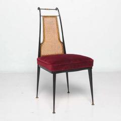 Arturo Pani Neoclassical Ruby Red Velvet Dining Chairs Set of 4 Arturo Pani Mexico 1950s - 1600238