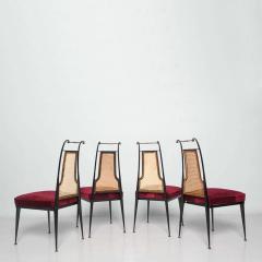 Arturo Pani Neoclassical Ruby Red Velvet Dining Chairs Set of 4 Arturo Pani Mexico 1950s - 1600239