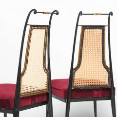 Arturo Pani Neoclassical Ruby Red Velvet Dining Chairs Set of 4 Arturo Pani Mexico 1950s - 1600240