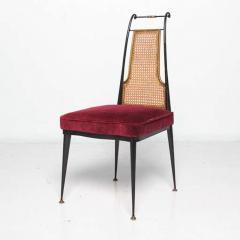 Arturo Pani Neoclassical Ruby Red Velvet Dining Chairs Set of 4 Arturo Pani Mexico 1950s - 1600244