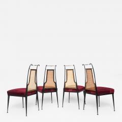 Arturo Pani Neoclassical Ruby Red Velvet Dining Chairs Set of 4 Arturo Pani Mexico 1950s - 1601766