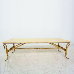 Arturo Pani Parchment and Brass Coffee Table Hollywood Regency - 1369147