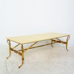 Arturo Pani Parchment and Brass Coffee Table Hollywood Regency - 1369153