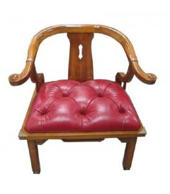 Asian Chair in Ox Blood Red Leather - 580769