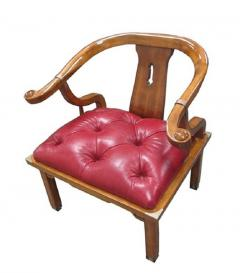 Asian Chair in Ox Blood Red Leather - 580770