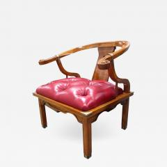 Asian Chair in Ox Blood Red Leather - 581113