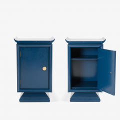 Asian Style Petite Nightstands with Brass Pulls in Marine Blue Lacquer Pair - 1430669