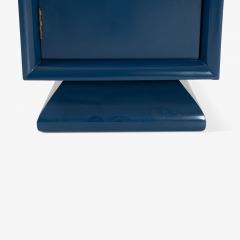 Asian Style Petite Nightstands with Brass Pulls in Marine Blue Lacquer Pair - 1430670